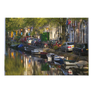 Boats and buildings along the canal belt, photo print