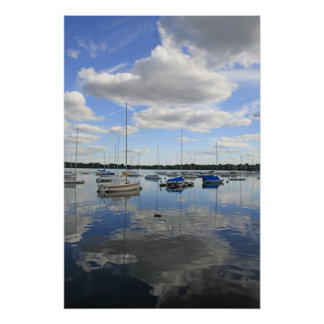 Boats and Clouds Poster