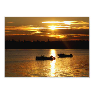 Boats and Fiery Sky Card
