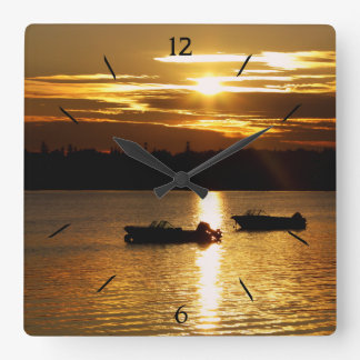 Boats and Fiery Sky Square Wall Clock
