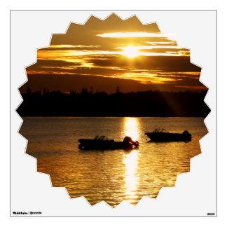 Boats and Fiery Sky Wall Sticker