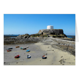 Boats and Fort Grey in Guernsey Greeting Cards