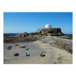 Boats and Fort Grey in Guernsey Poster