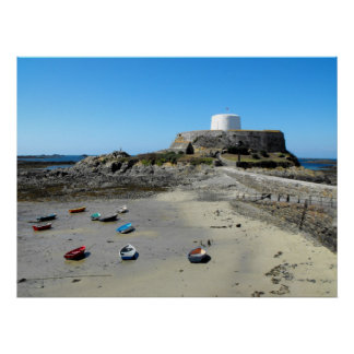 Boats and Fort Grey in Guernsey Print