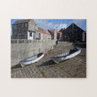 boats and old flint buildings original rural photo jigsaw puzzle