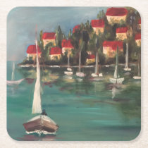 Boats and Red Roofs in Italy, Oil Painting Square Paper Coaster