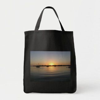 Boats and Sunrise Bag Grocery Tote Bag