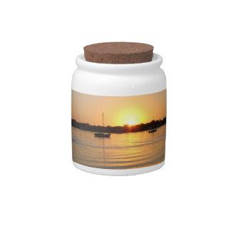 Boats and Sunrise Candy Jar