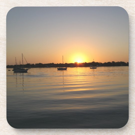 Boats and Sunrise Cork Coaster