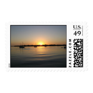 Boats and Sunrise Postage Stamp