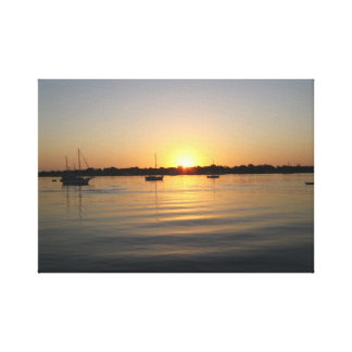 Boats and Sunrise Wrapped Canvas Canvas Prints