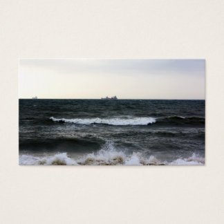 Boats and Surge in the Atlantic Ocean from the Business Card