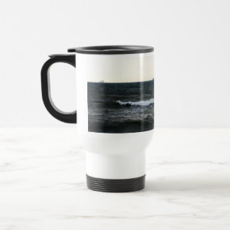 Boats and Surge in the Atlantic Ocean from the coa 15 Oz Stainless Steel Travel Mug