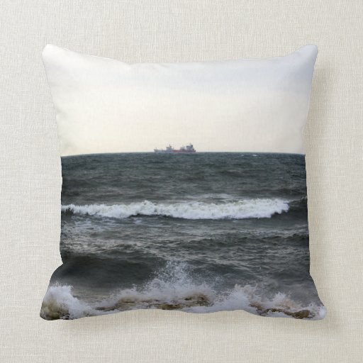 Boats and Surge in the Atlantic Ocean from the coa Throw Pillow