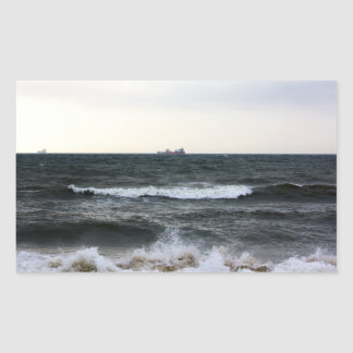Boats and Surge in the Atlantic Ocean from the coa Rectangular Sticker