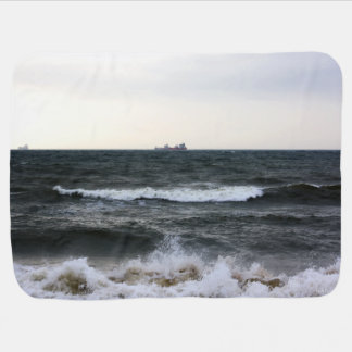 Boats and Surge in the Atlantic Ocean from the coa Swaddle Blanket