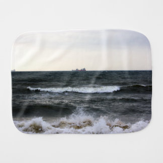 Boats and Surge in the Atlantic Ocean from the coa Baby Burp Cloths