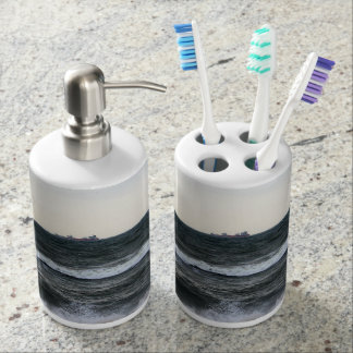 Boats and Surge in the Atlantic Ocean from the Soap Dispenser And Toothbrush Holder