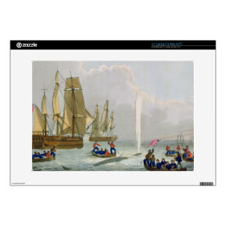 """Boats Approaching a Whale, engraved by Matthew Dub 15"""" Laptop Skin"""