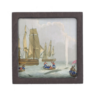 Boats Approaching a Whale, engraved by Matthew Dub Jewelry Box