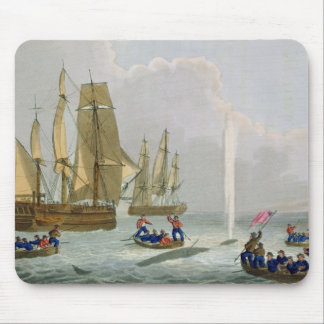 Boats Approaching a Whale, engraved by Matthew Dub Mouse Pad
