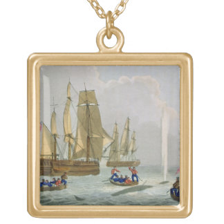 Boats Approaching a Whale, engraved by Matthew Dub Square Pendant Necklace