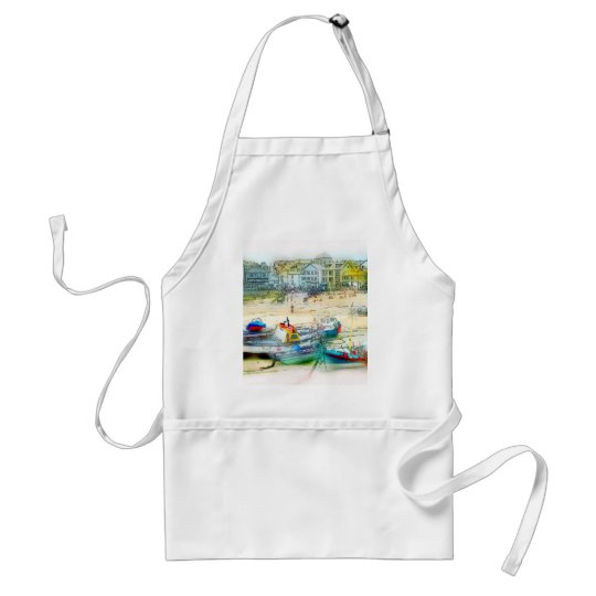 BOATS AS A PAINTING ADULT APRON