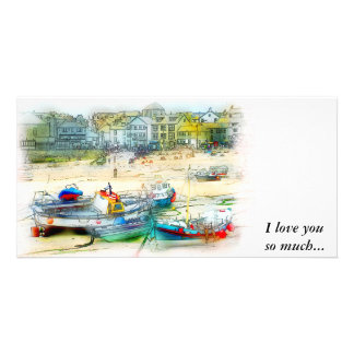 BOATS AS A PAINTING PHOTO GREETING CARD