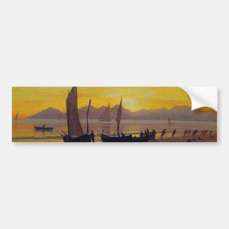 Boats Ashore at Sunset, Albert Bierstadt. Bumper Sticker