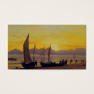 Boats Ashore at Sunset, Albert Bierstadt. Business Card