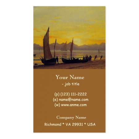 Fine Art Albert Bierstadt Boats Ashore at Sunset Business Cards