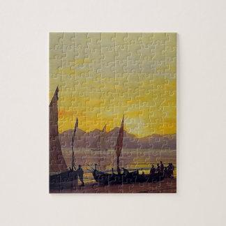Boats Ashore at Sunset, Albert Bierstadt. Jigsaw Puzzle