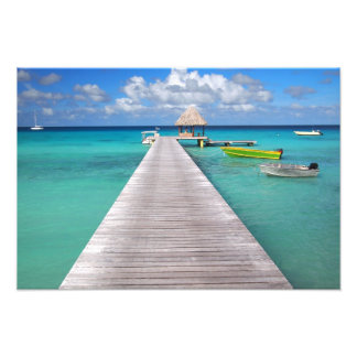 Boats at a jetty in the Pacific Photo Print