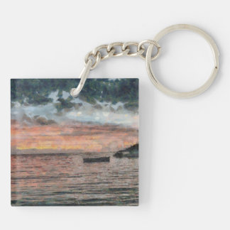 Boats at a rest at day end Double-Sided square acrylic keychain