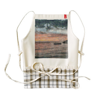 Boats at a rest at day end zazzle HEART apron