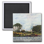 Boats At Bougival By Sisley Alfred Refrigerator Magnets