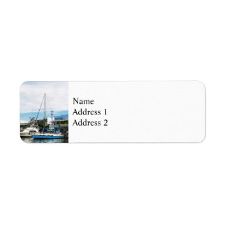 Boats at Bridgetown Barbados Label