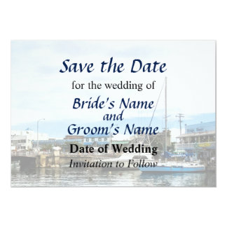 Boats at Bridgetown Barbados Save the Date Card