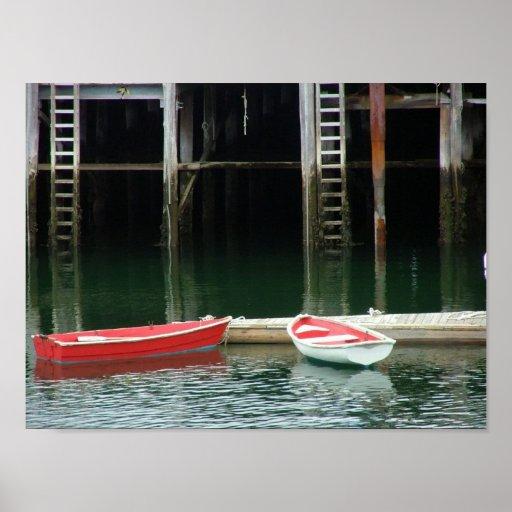 Boats at dock posters