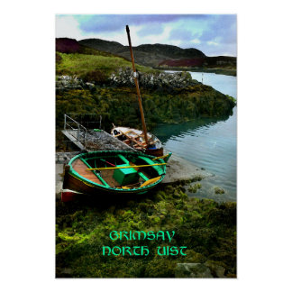 boats at grimsay, north uist poster