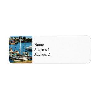 Boats at King's Wharf Bermuda Label