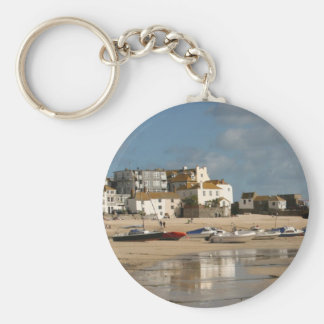 Boats at Low Tide, St Ives Harbour Basic Round Button Key Ring