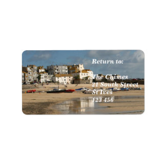 Boats at Low Tide, St Ives Harbour Address Label