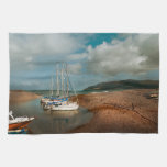 Boats at Porlock Weir Kitchen Towel