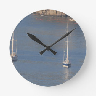 Boats at rest in Sorrento Italy Round Clock