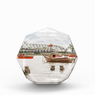 Boats at Santa Lucia River in Montevideo Uruguay Acrylic Award
