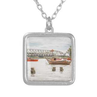 Boats at Santa Lucia River in Montevideo Uruguay Silver Plated Necklace