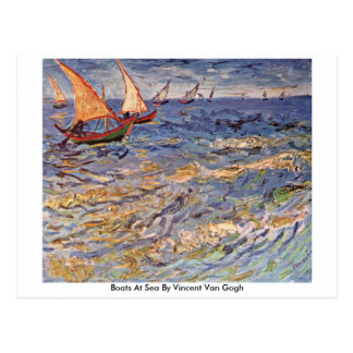 Boats At Sea By Vincent Van Gogh Post Cards