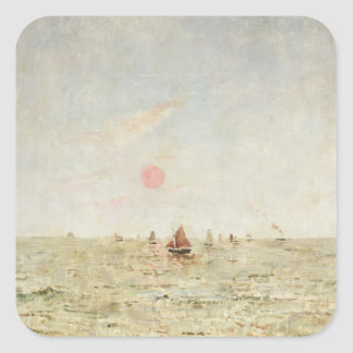 Boats at Sunrise (oil on panel) Square Sticker