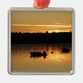 Boats At Sunset Metal Ornament